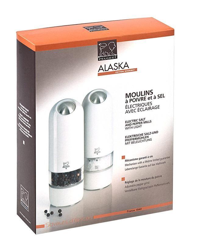 """""""Alaska"""" elektromos só- és borsőrlő szett- fehér - 17cm, Peugeot®"""