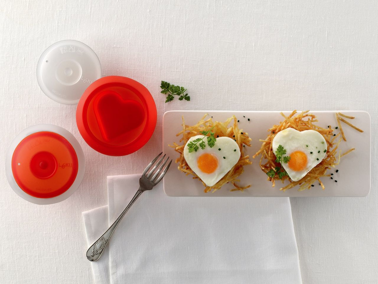 Lékué® OVO szilikon tojásfőző, szív alakú, átlátszó