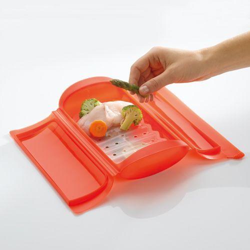 """Lékué® """"Steam case"""" szilikon sütőbox tálcával, élénkzöld"""