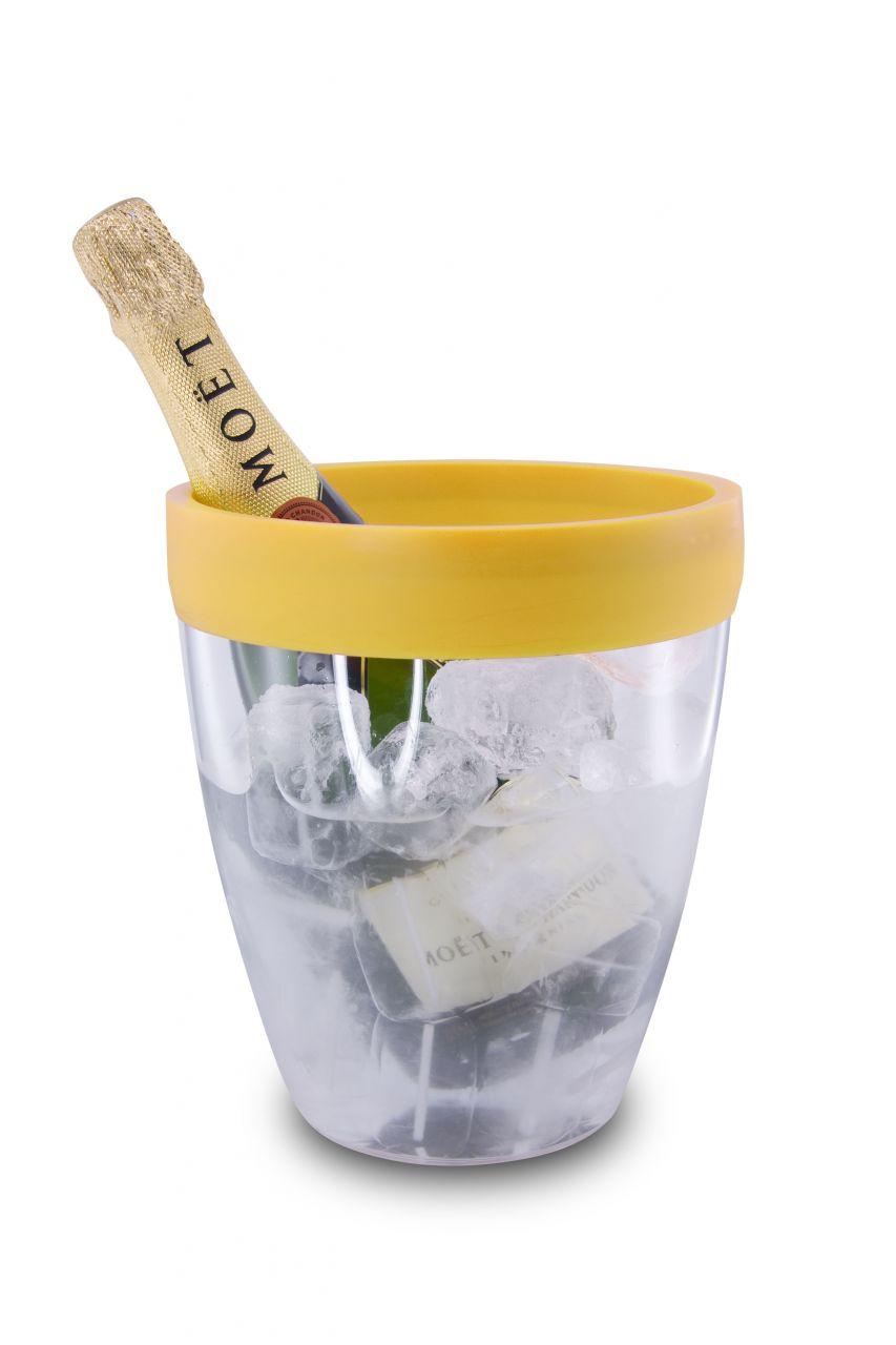 Akril pezsgősvödör, citromsárga szilikon peremmel, Pulltex®