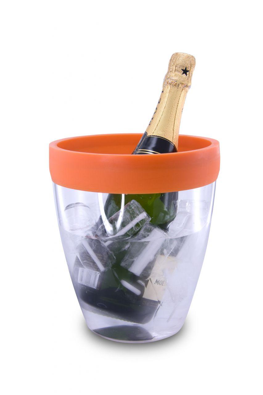 Akril pezsgősvödör, narancssárga szilikon peremmel, Pulltex®