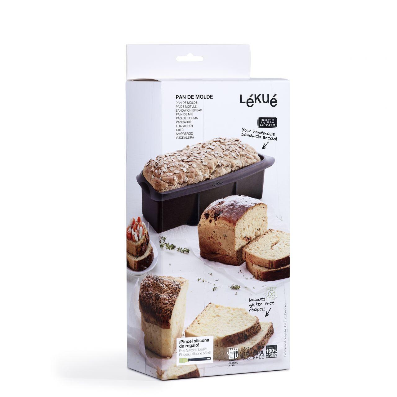 Lékué® szendvicskenyér sütőforma, 28cm, barna színben